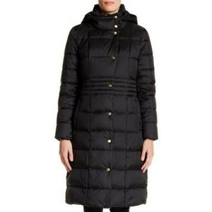Cole Haan Black Hooded Quilted Coat long